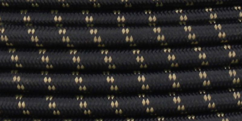 18/2 SVT-B BLACK/GOLD 2 TIC TRACER PATTERN NYLON FABRIC CLOTH COVERED PENDANT AND TABLE LAMP WIRE