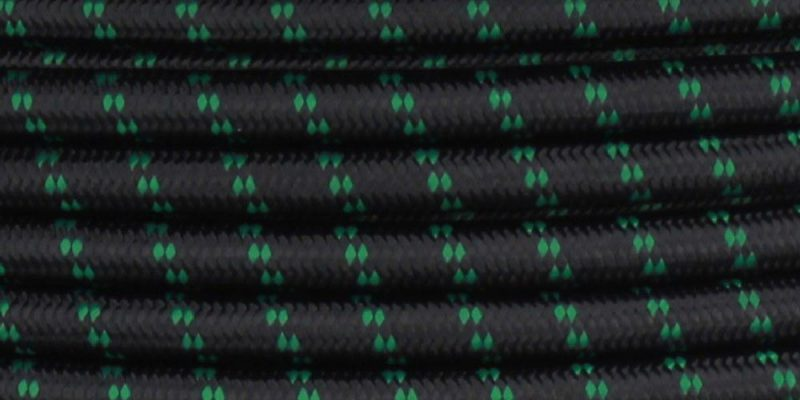 18/2 SVT-B BLACK/GREEN 2 TIC TRACER PATTERN NYLON FABRIC CLOTH COVERED PENDANT AND TABLE LAMP WIRE