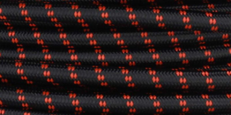 18/2 SVT-B BLACK/SAFE ORANGE 2 TIC TRACER PATTERN NYLON FABRIC CLOTH COVERED PENDANT LAMP WIRE