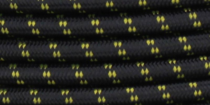 18/2 SVT-B BLACK/YELLOW 2 TIC TRACER PATTERN NYLON FABRIC CLOTH COVERED PENDANT AND LAMP WIRE
