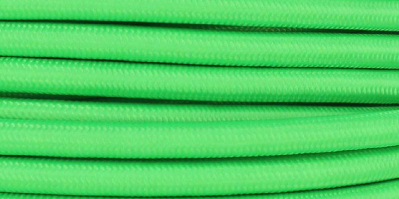 18/3 SJT-B NEON GREEN NYLON FABRIC CLOTH COVERED LAMP AND LIGHTING WIRE