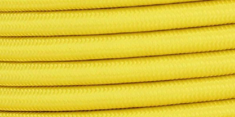 18/3 SJT-B YELLOW NYLON FABRIC CLOTH COVERED LAMP AND LIGHTING WIRE